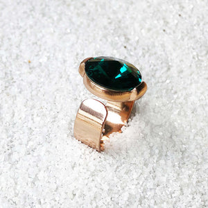 sparkly emerald swarovski adjustable statement ring australia