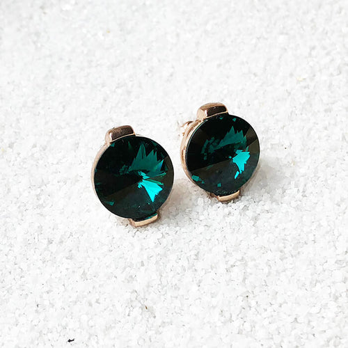 emerald green stud earrings in rose gold sparkly jewellery