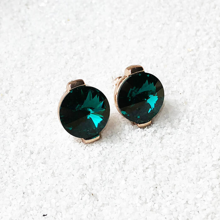 c222122a4 ... emerald green stud earrings in rose gold sparkly jewellery ...