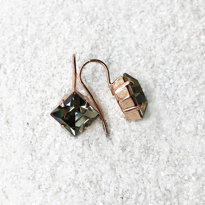 elegant black diamond swarovski ethical drop earrings rose gold