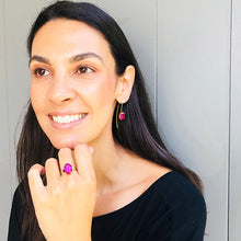 australian ethical jewellery fuschia pink swarovski and gold earrings and ring