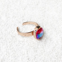 unique cocktail ring rose gold and pink swarovski crystal