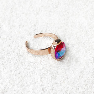 rose gold and pink swarovski crystal unique cocktail ring