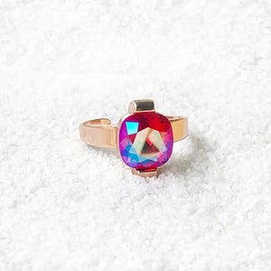 elegant cocktail adjustable ring rose gold and pink swarovski crystal