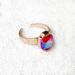 unique cocktail ring rose gold and bright pink swarovski crystal