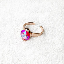 ethical cocktail adjustable ring rose gold and pink swarovski crystal