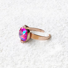 unique adjustable ring rose gold and pink swarovski crystal