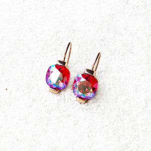 pink and rose gold unique crystal drop earrings