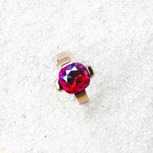 rose gold and pink swarovski crystal pretty cocktail ring