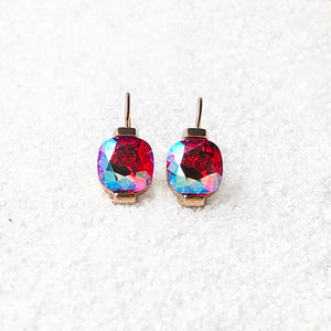 pretty crystal dangle earrings in bright pink and rose gold