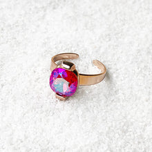 elegant cocktail ring rose gold and pink swarovski crystal