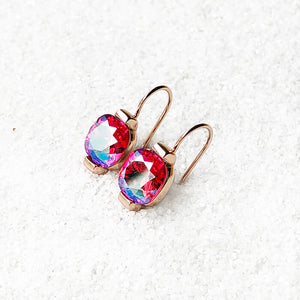 pink and rose gold unique crystal dangle earrings