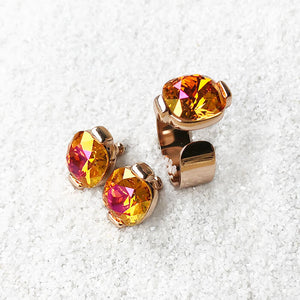 unique astral pink statement ring and stud earrings elegant jewellery set