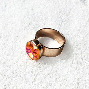 astral pink swarovski and rose gold adjustable ring unique jewellery online
