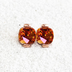 astral pink swarovski and rose gold stud earrings elegant jewellery