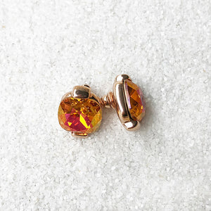 astral pink swarovski and rose gold stud earrings