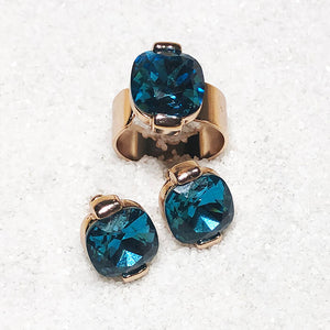 unique jewellery australia turquoise swarovski and rose gold stud earrings and adjustable statement ring