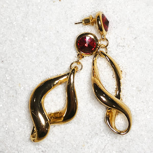 unique gold dangly earrings with red swarovski crystal australia