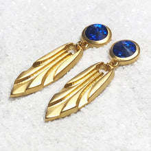 blue swarovski gold dangle earrings australia