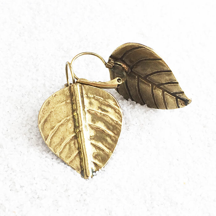 leaf shaped antique gold drop earrings unique