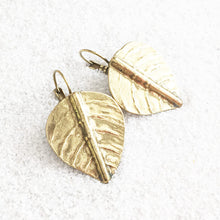 leaf shaped antique gold unique drop earrings