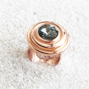 rose gold and black diamond swarovski adjustable statement ring