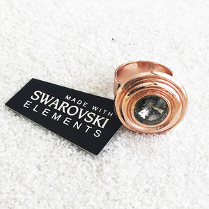 rose gold and black diamond genuine swarovski statement ring