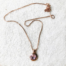 amethyst and rose gold elegant sparkly pendant with chain