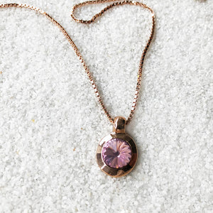 amethyst and rose gold elegant ethical pendant with chain