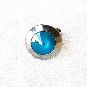 unique silver statement ring with azure blue crystal