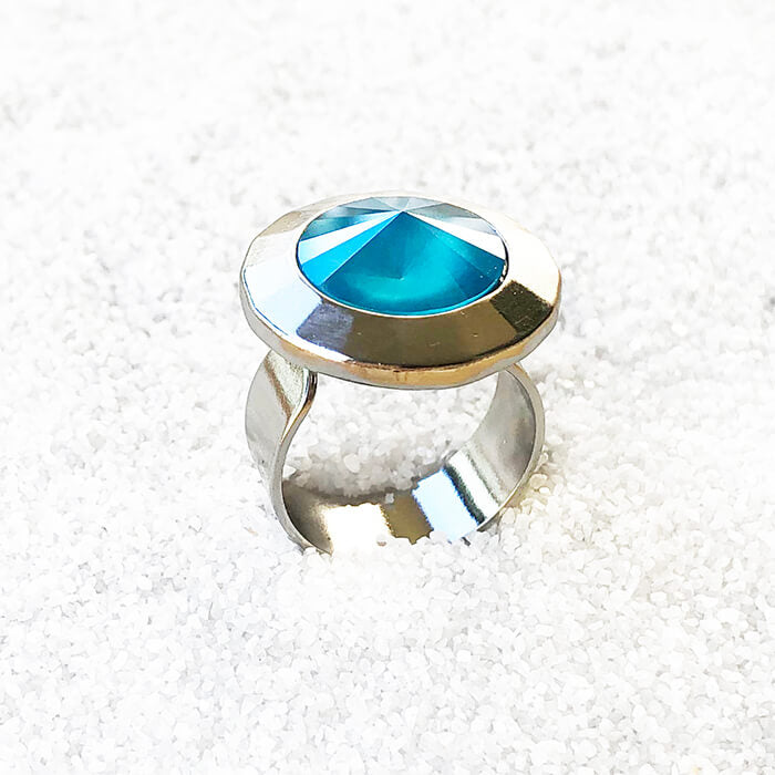 elegant statement ring in azure blue swarovski and silver
