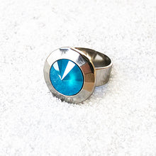 unique adjustable ring with azure blue crystal and silver