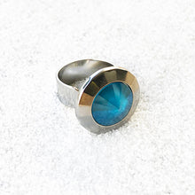 affordable statement ring in azure blue crystal and silver