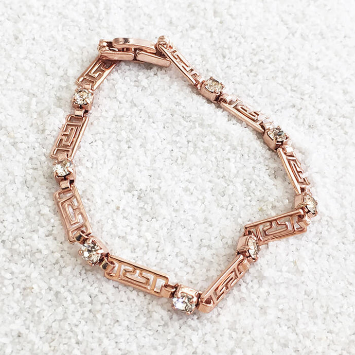 Rose gold and clear swarovski elegant bracelet ethical jewellery