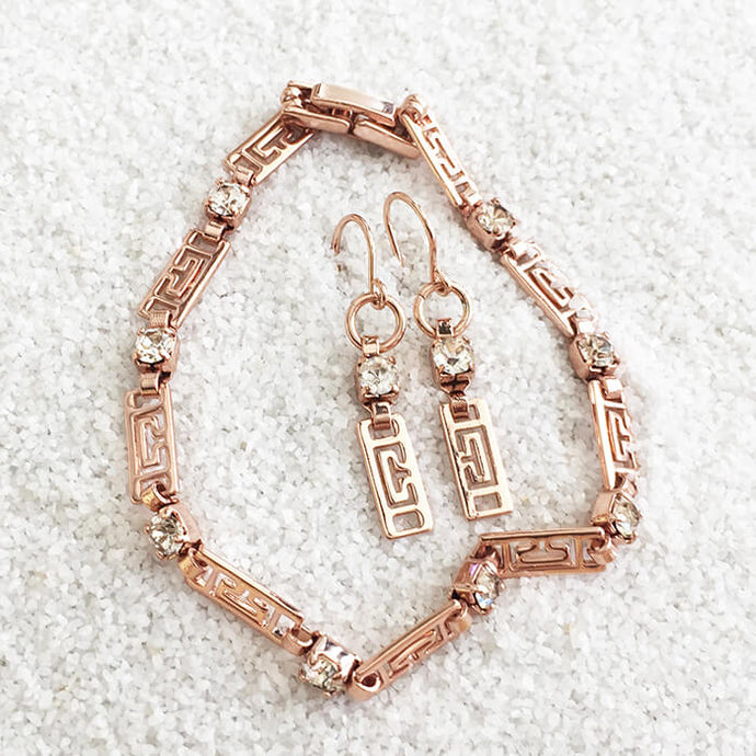 rose gold and crystal elegant bracelet and ethical earring set