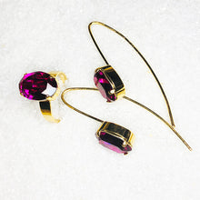 elegant gold jewellery with bright pink swarovski crystals