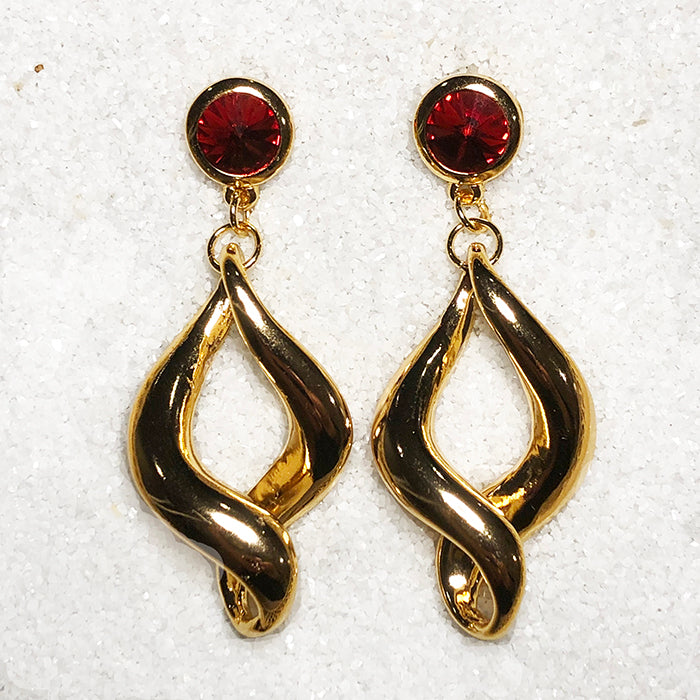 elegant gold dangle earrings with red swarovski australia