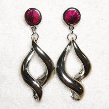silver dangle earrings with hot pink swarovski crystal