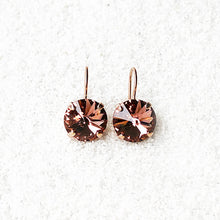 blush rose and rose gold sparkly ethical earrings