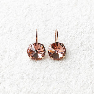 unique crystal drop earrings blush rose and rose gold