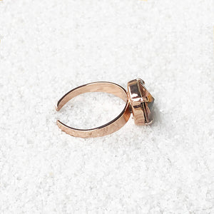 blush rose and rose gold adjustable statement ring