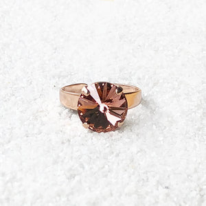 blush rose and rose gold ethical crystal statement ring