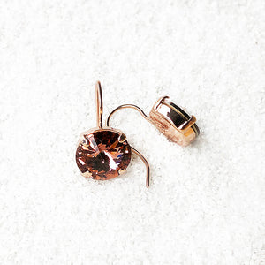 ethical crystal drop earrings in blush rose and rose gold