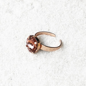 blush rose and rose gold unique crystal statement ring
