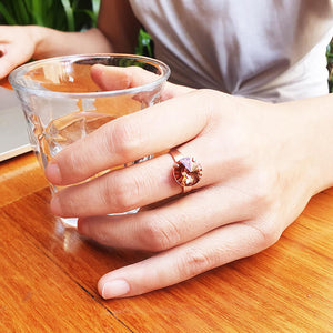blush rose and rose gold unique crystal statement ring on model