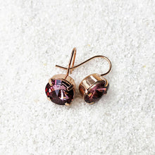 crystal drop hook earrings rose gold and antique pink sparkly jewellery