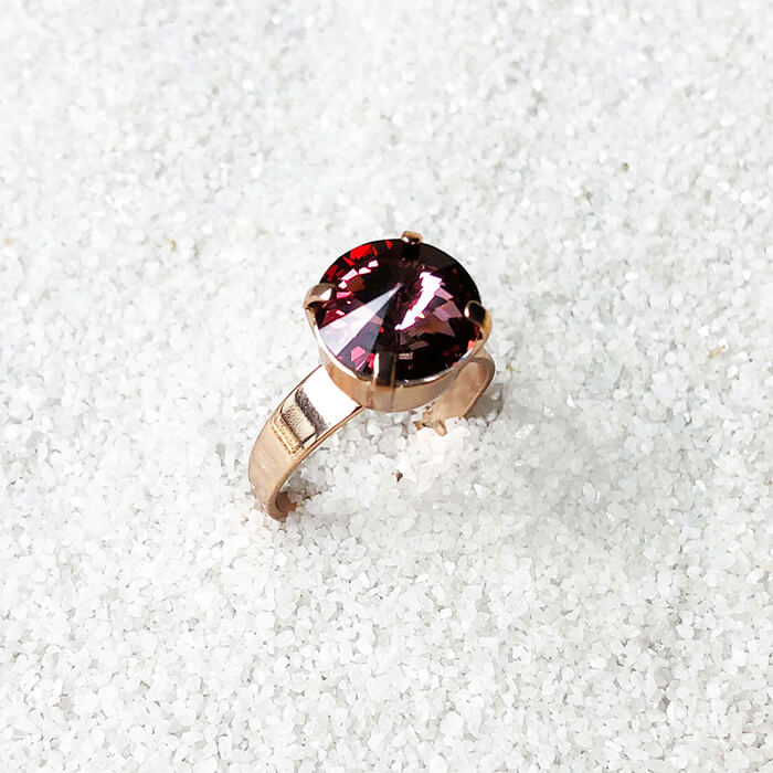 elegant dark pink crystal cocktail ring ethical jewellery