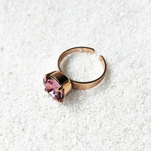 sparkly pink crystal cocktail ring rose gold sparkly jewellery