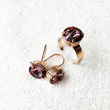 elegant sparkly ethical earrings and ring rose gold and antique pink ethical jewellery