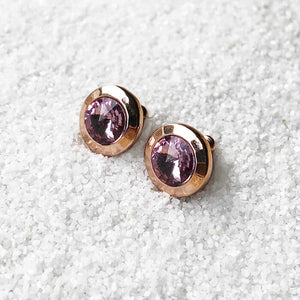 elegant sparkly amethyst stud earrings rose gold